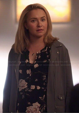 Juliette's black rose print blouse and grey moto jacket on Nashville