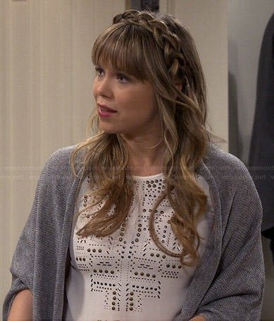 Kristin's white studded top on Last Man Standing