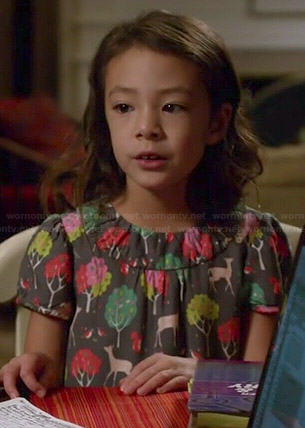 Lily's deer and forest printed dress on Modern Family
