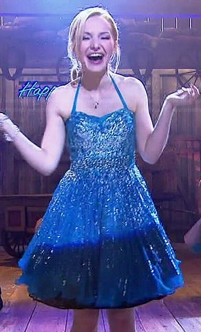 Liv's blue embellished New Years dress on Liv and Maddie