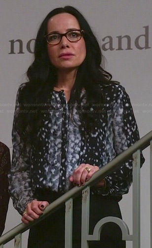 Lyla's black and grey leopard print blouse on Girlfriends Guide to Divorce
