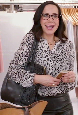 Lyla's white leopard print blouse on Girlfriends Guide to Divorce