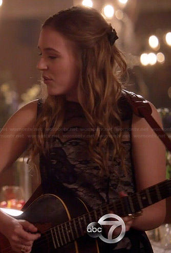 Maddie's black scalloped lace dress on Nashville