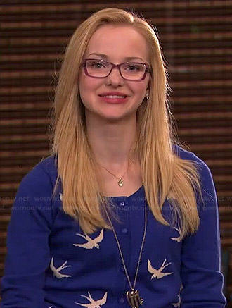 Maddie's blue bird cardigan on Liv and Maddie