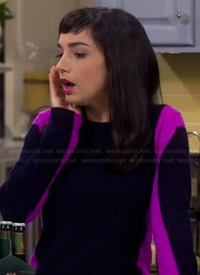 Mandy's navy and pink colorblock sweater on Last Man Standing