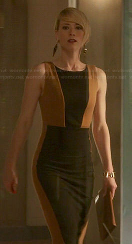 Margaux's black and tan colorblock dress on Revenge