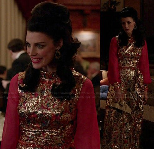 Megan's gold gown with pink long sleeves on Mad Men