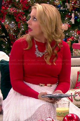 Melissa's red sweater and white pleated lace skirt on Melissa and Joey
