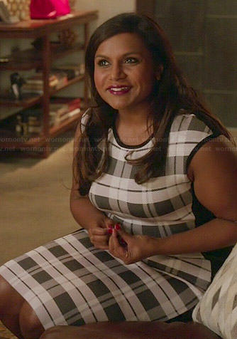 Mindy's black and white checked dress on The Mindy Project
