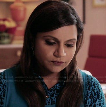 Mindy's turquoise blue printed shirt on The Mindy Project