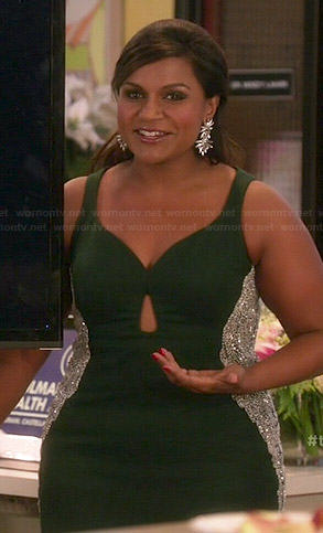 Mindy's dark green Christmas dress on The Mindy Project