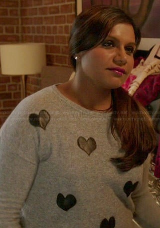 Mindy's grey sweater with leather hearts on The Mindy Project