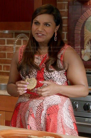 Mindy's orange printed fit and flare dress on The Mindy Project
