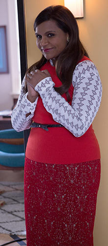 Mindy's white printed shirt, red sweater vest and red pencil skirt on The Mindy Project