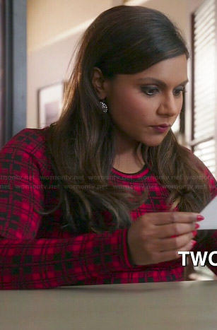 Mindy's red plaid sweater dress on The Mindy Project