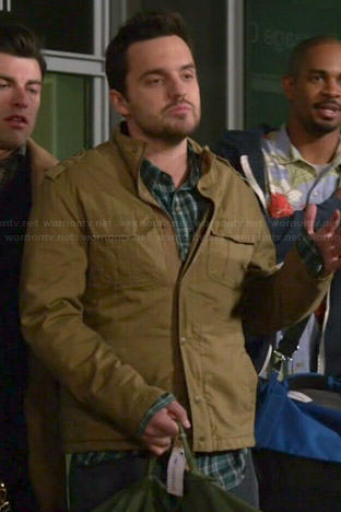 Nick's green plaid shirt and tan jacket on New Girl