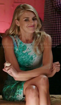 Nina's green splash print dress on Benched