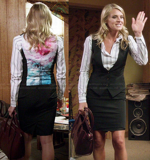 Nina's striped shirt and printed back waistcoat on Benched