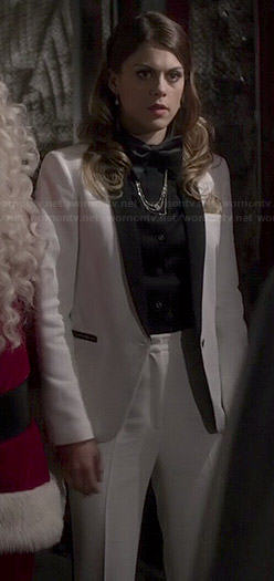 Paige's white Christmas tuxedo suit on Pretty Little Liars