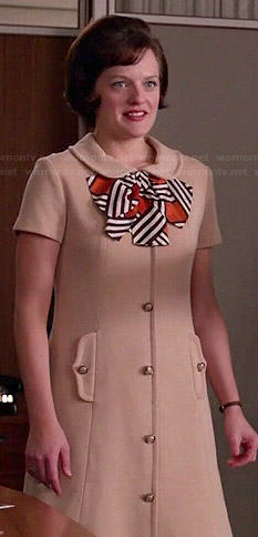 Peggy's beige button-front dress with striped bow on Mad Men