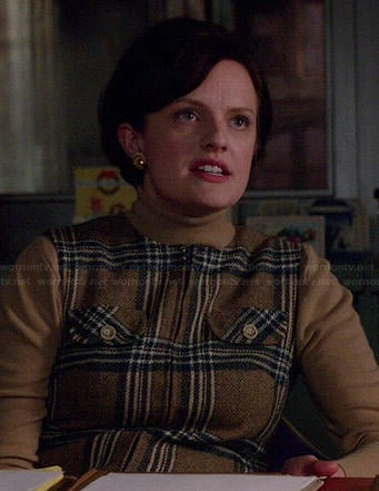 Peggy's brown plaid dress with beige turtleneck on Mad Men