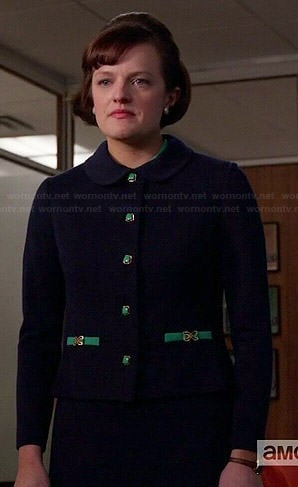 Peggy's navy skirt suit with green buttons on Mad Men