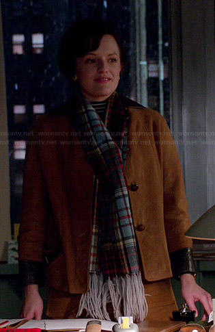 Peggy's tan suede jacket and plaid scarf of Mad Men