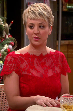 Wornontv Penny S Red Lace Christmas Dress On The Big Bang