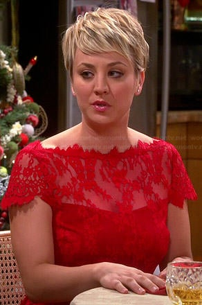 Penny's red lace Christmas dress on The Big Bang Theory