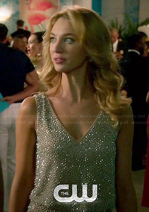 Petra's beaded v-neck dress on Jane the Virgin