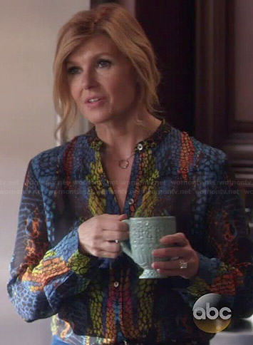 Rayna's multicolored snake print blouse on Nashville
