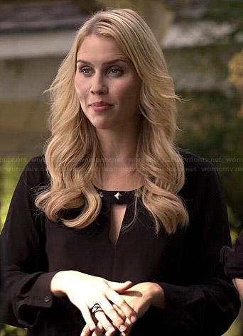 Rebekah's black studded keyhole blouse on The Originals