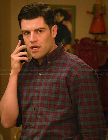 Schmidt's blue and red checked shirt on New Girl