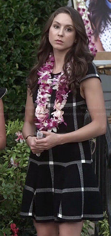 Spencer's black checked drop waist dress on Pretty Little Liars