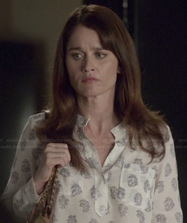 Lisbon's white all over print top on The Mentalist
