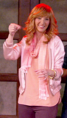 Valerie's light pink satin jacket on The Comeback