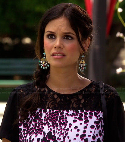 Zoe's pink and black leopard and lace top and round earrings on Hart of Dixie