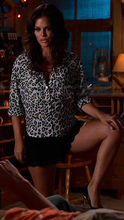 Zoe's white leopard print blouse on Hart of Dixie