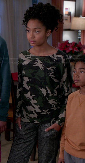 Zoey's camo sweater on Black-ish