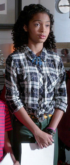 Zoey's plaid paint splatter shirt on Black-ish