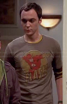 Sheldon's beige The Flash tee on The Big Bang Theory