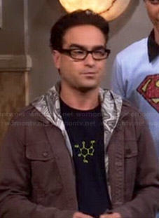 Leonard's caffeine molecule tee on The Big Bang Theory
