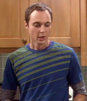 Sheldon's rainbow lightning bolt tee on The Big Bang Theory
