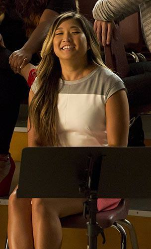 Tina's grey, white and pink colorblock dress on Glee