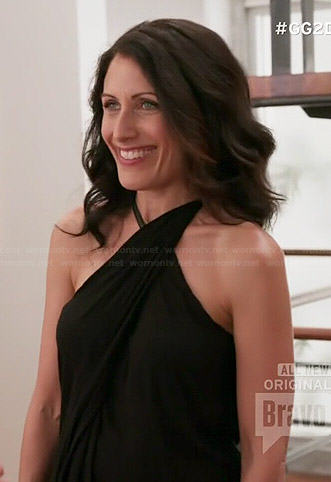 Abby's black asymmetric twist neck top on Girlfriends Guide to Divorce