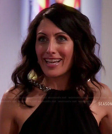 Abby's black chain-neck dress on Girlfriends Guide to Divorce