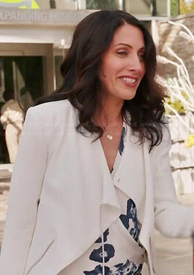 Abby's blue and white floral halter blouse and white jacket on Girlfriends Guide to Divorce