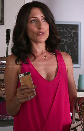 Abby's pink draped crossover top on Girlfriends Guide to Divorce