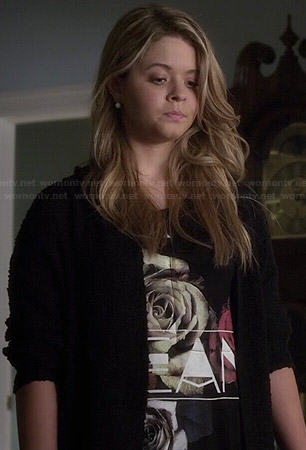 Ali's Dream rose graphic top on Pretty Little Liars