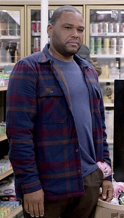 Andre's blue and purple plaid jacket on Black-ish